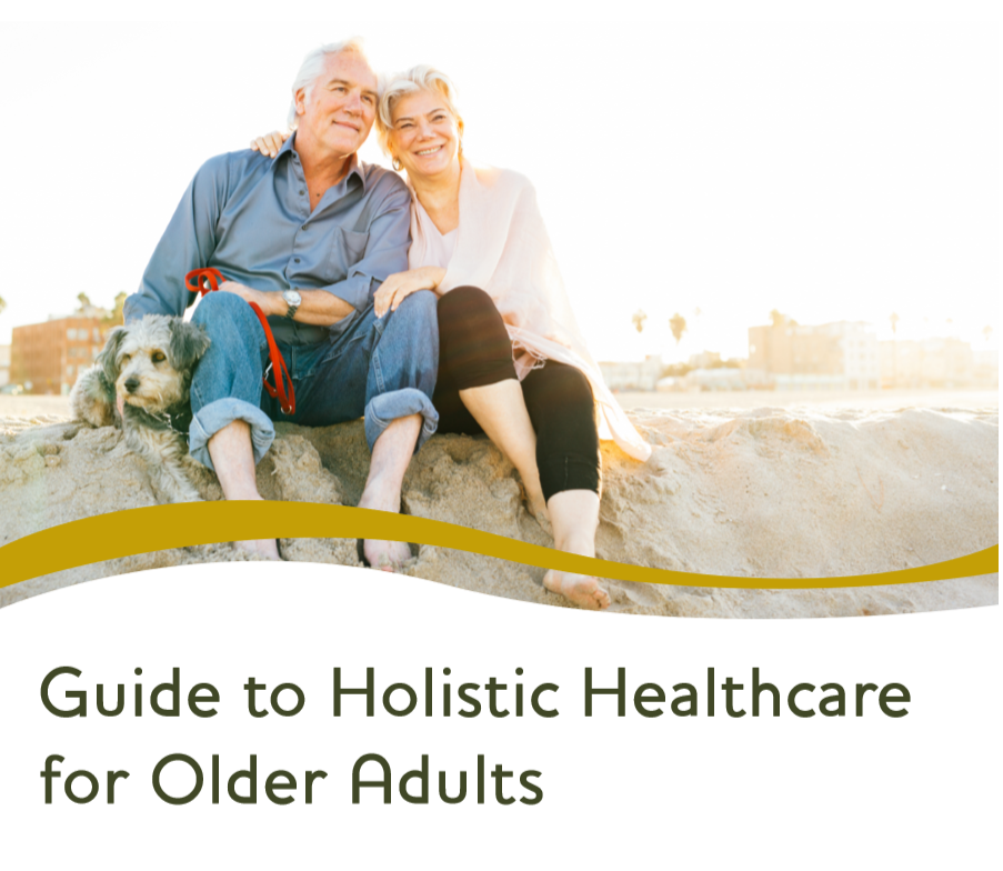 Guide to Holistic Health Care for Older Adults ebook cover with seniors and a dog